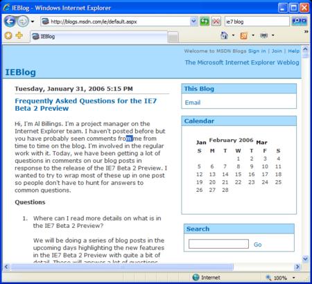 Internet Explorer 7 screenshot