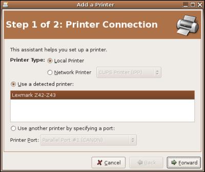 Add Printer wizard in Ubuntu