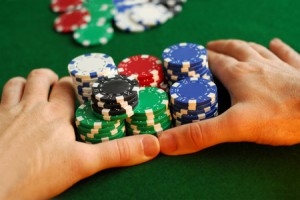"""Poker player going """"all in"""""""