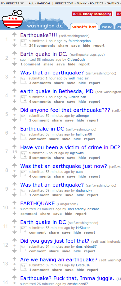 An earthquake??? Quick! To The Internet!