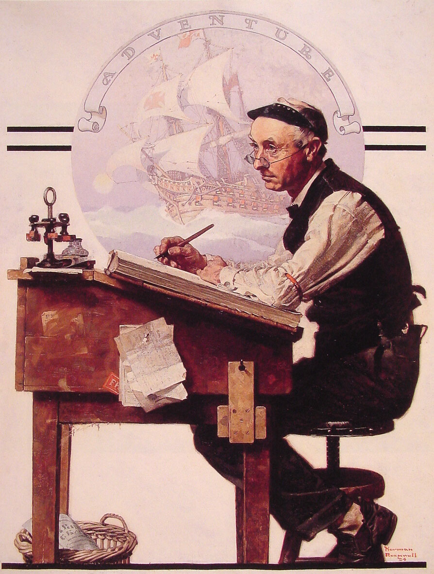 Daydreaming Bookkeeper (by Norman Rockwell)