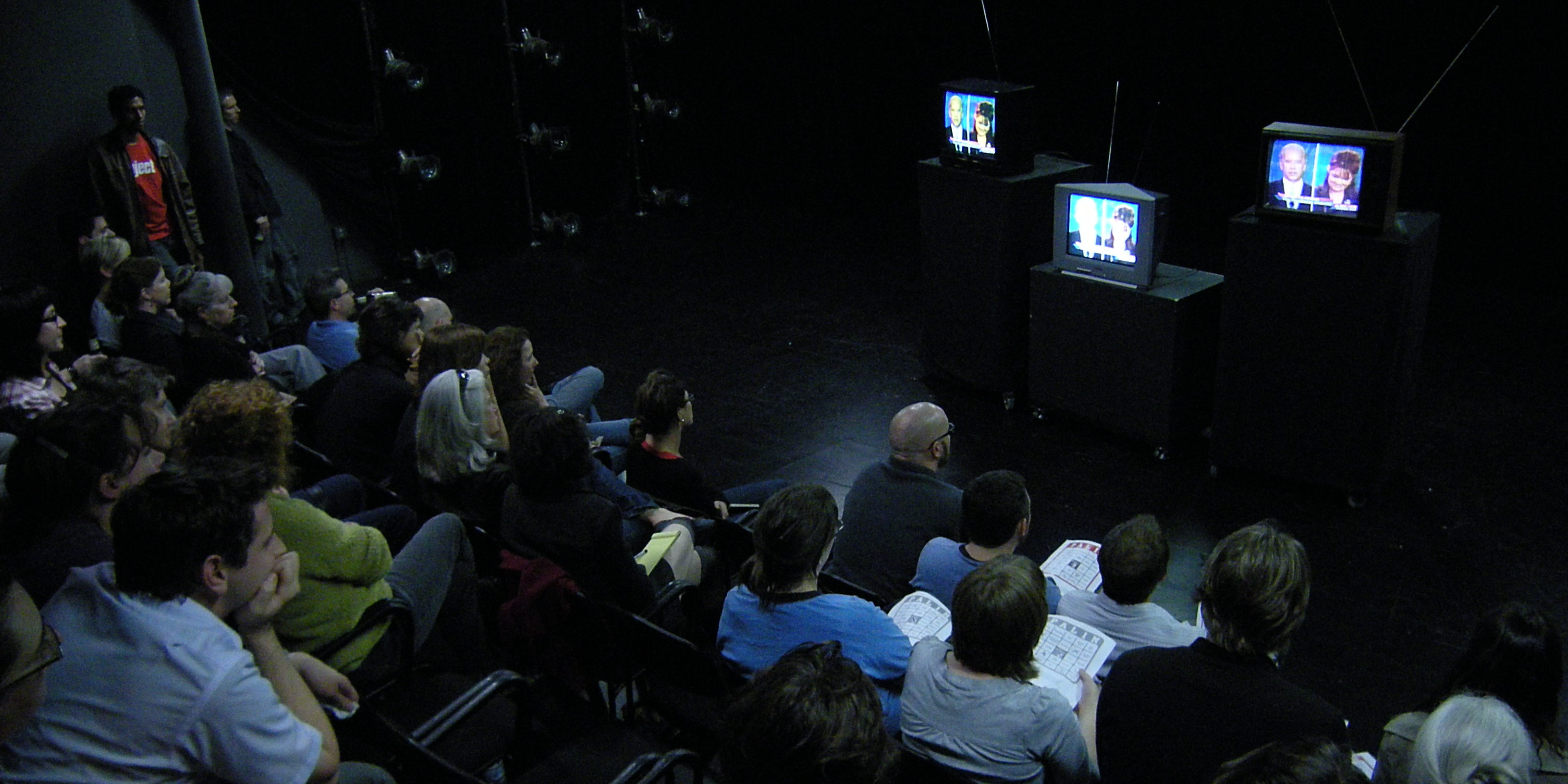 Party to watch the 2008 vice-presidential candidates' debate at On the Boards, Seattle, Washington.