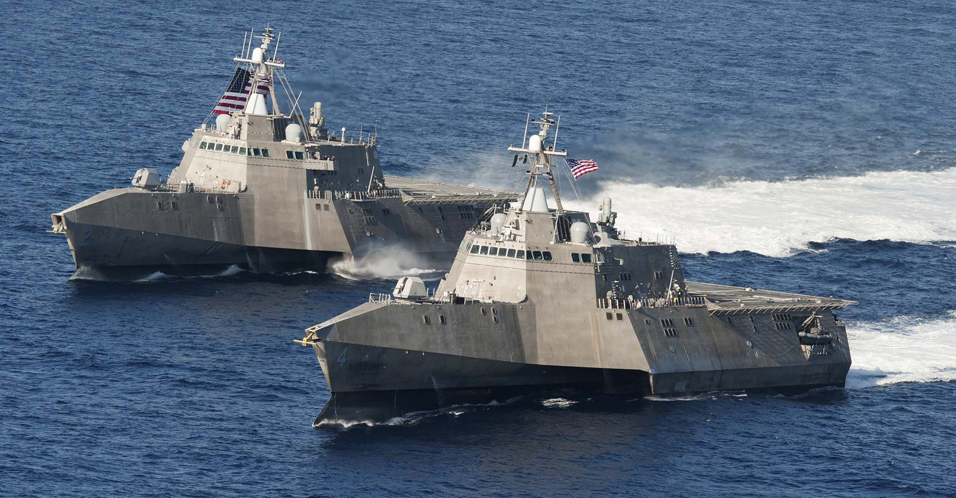 Littoral combat ships USS Independence (LCS 2), back, and USS Coronado (LCS 4) underway in the Pacific Ocean. Photo credit: U.S. Navy photo by Chief Mass Communication Specialist Keith DeVinney.
