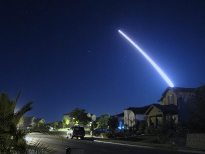 An operational test launch of an unarmed Minuteman III intercontinental ballistic missile from Vandenberg Air Force Base, Calif., is seen from nearby Lompoc, Calif., Sept. 26, 2013. The ICBM safely launched and traveled the approximately 4,200 nautical miles to its target in the Marshall Islands. Photo credit: Lt. Col. Andy Wulfestieg, U.S. Air Force.